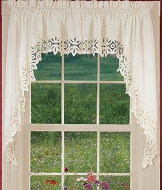 Your favorite Country Curtains now at The Vermont Country Store Grey Kitchen Curtains, Rustic Valances, Country Window Treatments, White Cotton Curtains, Swag Curtains, Bedroom Curtains, Window Toppers, Swag Ideas, Drapery Designs