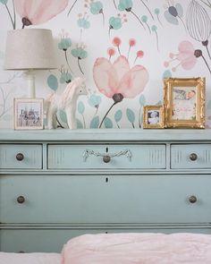 kleine Mädchen blaugrün und rosa Schlafzimmer  sweetroseandwren.com
