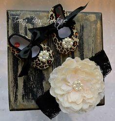 Cheetah Baby Girl Shoes -Fancy Glamour Baby Crib Shoes-Baby Headband and Shoe SET-Shoes-Baby Girl Headband-Newborn Baby Girl on Etsy, $28.95