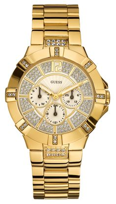 women watches Best Gold watches for women GUESS Women's Dazzling Sporty Gold-Tone Watch Dream Watches, Sport Watches, Watches For Men, Guess Watches, Wrist Watches, Gold Watches, Women's Watches, Amazing Watches, Beautiful Watches