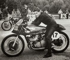 A pensive Geoff Duke before the Swedish GP at Hedemora, 1954. Gilera Four, the sexiest racing motorcycle of the 1950s. Note the Matchless G45 behind, another gorgeous racer.
