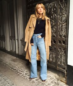 Camel coat and jeans