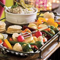 Quick Winter Pickled Veggies by Southern Living. Serve these colorful veggies alongside Deviled Ham Terrine, or add to your favorite martini or Bloody Mary. Best Party Appetizers, Easy Appetizer Recipes, Party Dips, Easy Recipes, Holiday Appetizers, Yummy Appetizers, Simple Appetizers, Appetizer Ideas, Holiday Meals