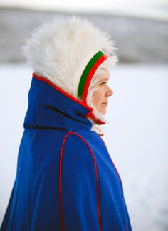 Sami -- very Royal Blue with Green, Red, Yellow felt with reindeer fur. My People, People Around The World, Folk Costume, Costumes, Culture Clothing, Swedish Christmas, Beauty Book, Finland, Norway