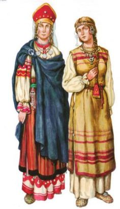 800 AD: Slavic peasant women's clothing  (right)