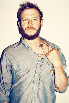 Justin Vernon, WI tattoo. photograph by Mads Teglers