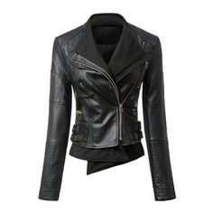 Turn-Down Collar Long Sleeve Faux Leather Slimming Women's Jacket