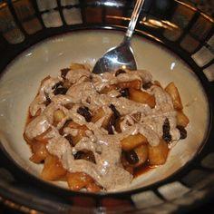 1 tsp coconut oil + 1 medium apple + 1/4 cup raisins + cinnamon + 1/2 tsp vanilla + 1 tsp coconut nectar + 2 tbsp almond butter = Yummy Apple Snack!