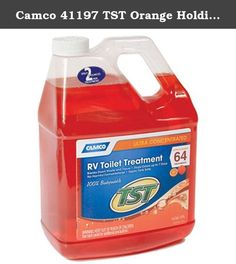 Camco 41197 TST Orange Holding Tank Chemical - 1 gallon. Camco TST Orange Power RV Toilet Treatment / 1 gallon helps to break down waste and tissue. Fresh citrus fragrance has been added to help control odors. This product contains no formaldehyde, and is non staining and safe for septic tanks. Our one step solution requires no mixing or preparation. Ultra concentrated - just 2 ounces will treat up to 40 gallons of water.