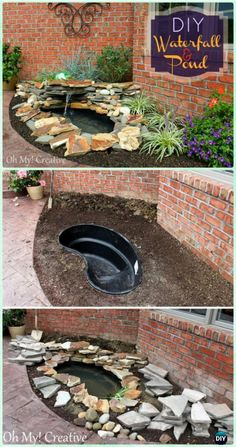 DIY Waterfall & Pond Landscape Water Feature Instruction - DIY Fountain Landscaping Ideas & Projects DIY Garden Fountain Landscaping Ideas & Projects with Instructions: Outdoor Fountain DIY projects, built in fountain and water features tutorials Diy Waterfall, Garden Waterfall, Waterfall Sketch, Waterfall Decoration, Waterfall Quotes, Waterfall Dresser, Indoor Waterfall, Waterfall Shower, Diy Garden Fountains