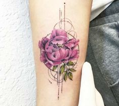 Very pretty 2 colors realistic tattoo style of Peonies flower motive done by tattoo artist Eva Krbdk