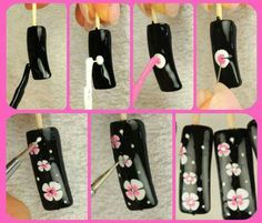 easy flower nail art Plus Nail Art Diy, Cool Nail Art, Diy Nails, Cute Nails, Pretty Nails, Flower Nail Art, Art Flowers, Pink Flowers, Wedding Nails Design