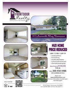 Real Estate For Sale: Investor Alert-Now $174,570! 3 Bedroom, 1.5 Bath, 1061 SF One Story Andresen Highland HUD Ranch on Large Fenced .2 Acre Lot in Vancouver, WA! Thanks for sharing Julie Baldino, Front Door Realty, Vancouver, WA!   #RealEstate #ForSaleRealEstate #RealEstateForSale #VancouverRealEstate #Vancouver  #AndresenHighlandRealEstate #AndresenHighland #SWHeightsRealEstate #SouthWestHeights #HUDHome #OneLevel #OneLevelRealEstate #LargeLot #FencedYard #OversizedDoubleGarage