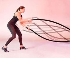 Grab the battle ropes next time you're at the gym or Crossfit box to get a great shoulder, arm and core workout. These 6 moves will burn off a ton of calories and help you gain lean muscle and tone up your upper body.
