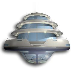 Jellyfish 45 Created by Giancarlo Zema Design, this floating dwelling of the future houses up to six people. The five-level residence features a spiral staircase and a teak deck. Most levels of the home would bob above the surface but an acrylic viewport at the very base would allow occupants to watch sea life, submarine-style. Designed to mimic a jellyfish, the plastic home, which is approximately 50-feet at its widest, would be reinforced by fiberglass.
