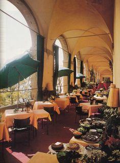 Dining Loggia-Villa San Michele-Fiesole-Tuscany-Lucien Teissier-AD June 1981-Robert Emmett Bright