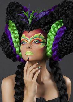 Avant-Garde Fashion ~ Hair Art ~ ღ Skuwandi Hair Rainbow, Wig Styling, Foto Fashion, Fashion Hair, Avant Garde Hair, Crazy Hair Days, Fantasy Hair, Hair Shows, Creative Hairstyles