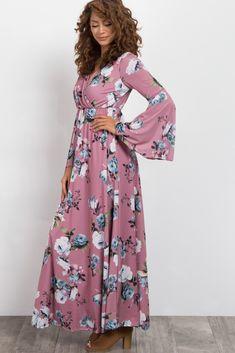 1ba13e71e3cf Mauve Rose Bell Sleeve Wrap Maxi Dress