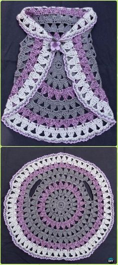 DIY Crochet Circle Block Vest Free Pattern -Crochet Little Girl Circle Vest Sweater Coat Free Patterns. - Crochet and Knit Little+Girl+Crochet+Patterns+Free Gilet Crochet, Crochet Jacket, Crochet Shawl, Crochet Beanie, Diy Crochet Vest, Crochet Toddler Sweater, Knitted Baby, Crochet Circle Vest, Crochet Circles