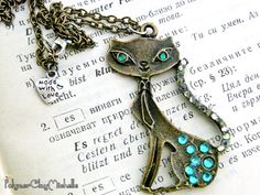 Vintage Cat Necklace with Rhinestones  by PolymerClayMichelle, €10.00