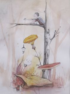 Tableau ; Un pêcheur perché - aquarelle & encre.