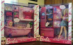 "Barbie ""Glam"" Bathtub and Fridge by Mattel, 1990's"