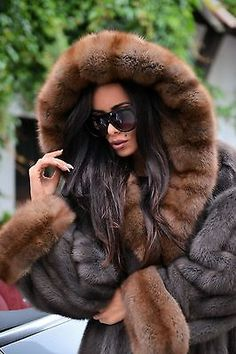 Nouveau Royal SAGA MINK russe sable long manteau de fourrure capuche Clas Chinchilla Fox libertin