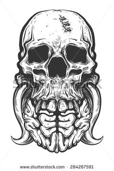 Black and White Skull Tattoo Vector