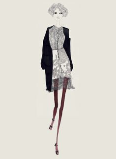 Fashion illustration - cardigan & dress sketch; chic fashion drawing // Bernadette Pascua