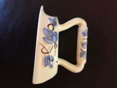 Vintage Wall Pocket Vase Iron Blue Leaves Figural Excellent Condition Sad Iron in Pottery & Glass, Pottery & China, Art Pottery   eBay