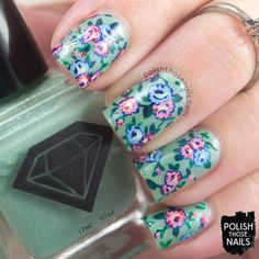 1920s Chintz Roses // Polish Those Nails // The Digit-al Dozen - Decades // Inspired by antiquefabrics.com // luxe lacquers (press sample) - lucky 13 lacquer - indie polish - floral - flowers