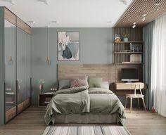 Bedroom workspace, apartment interior, home bedroom, bedroom decor, home de Small Bedroom Interior, Modern Bedroom Design, Small Room Bedroom, Master Bedroom Design, Trendy Bedroom, Modern Room, Bedroom Colors, Home Interior, Home Bedroom