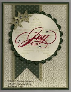 handmade Christmas card ... white and greens ... banner ... punched stars ... circle with JOY ... Stampin' Up!