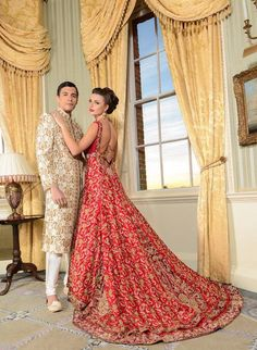 Red wedding dress with train #bridaldresses #pakistanidresses #dresses groom in white/gold/cream