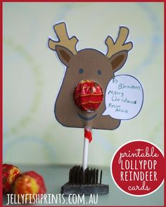 Making DIY Christmas cards for the kids to take to their friends at school. Free printable lollypop reindeer template and tutorial. Just add a sucker! http://www.jellyfishprints.com.au/printable-childrens-christmas-cards/