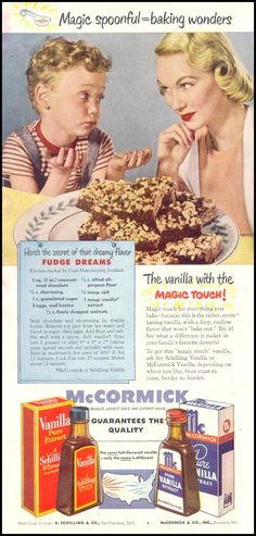 Fudge Dreams ~ MCCORMICK PURE VANILLA EXTRACT GOOD HOUSEKEEPING 07/01/1949 p. 122
