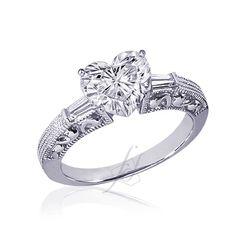 1.10 Ct Heart Shape 3 Stone Diamond Engagement Ring Vs1