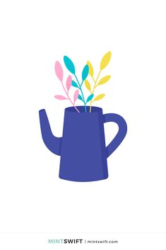 366 Days of Illustration Challenge - Day 314 - MintSwift | One year of vector illustrations challenge. Flat design vector illustration of tall teapot with colourful leaves. View more at mintswift.com #mintswift by Adrianna Leszczynska #illustration #illustrationchallenge #flatillustration #vectorart #illustrator #flatdesign #vectorillustration #digitalillustration #mintswiftportfolio #mintswiftillustrations #366daysofillustrationchallenge Flat Design Illustration, Digital Illustration, Web Design Packages, Hello November, Vintage Lanterns, Graphic Design Tutorials, Vector Illustrations, Print Design, Designers