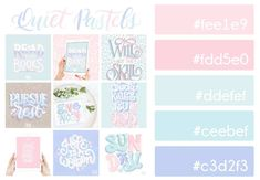 Grab this free color palette, check out my lettering, and then use it to make your own! Hex Color Palette, Pastel Colour Palette, Pastel Colors, Colores Hex, Pantone Colour Palettes, Theme Color, Color Balance, Pink Sky, Logo Color