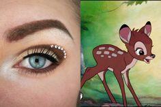 Check out these Disney inspired Halloween makeup looks! Beautylish Beauty Tereska H.'s Bambi inspired look is absolutely adorable! Bambi Makeup, Disney Eye Makeup, Disney Inspired Makeup, Disney Princess Makeup, Disney Character Makeup, Horror Makeup, Scary Makeup, Make Up Designs, Eye Makeup Designs