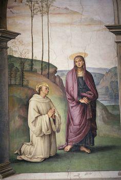 Pietro Perugino - La Crocifissione Pazzi: San Bernardo e la Vergine - affresco - 1493-1496 - Chiesa di Santa Maria Maddalena dei Pazzi - Firenze