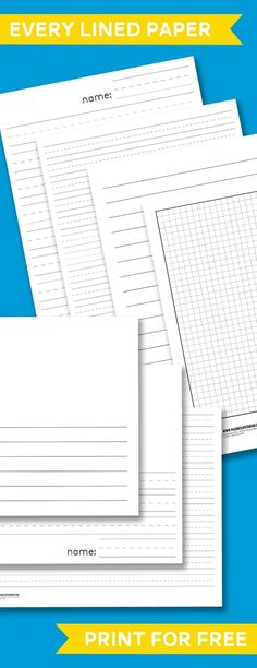 Free Printable School Lined Paper including Spaulding & Primary Lined Handwriting Paper. This will be good for this summer when we're teaching Hero more writing! Kindergarten Writing, Teaching Writing, Writing Activities, Teaching Tools, Teacher Resources, Literacy, Kindergarten Handwriting, Kindergarten Lined Paper, Teaching Cursive