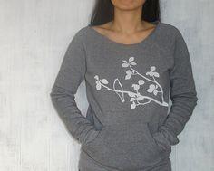 Womens Graphic Sweatshirt  Grey Sweatshirt for Women  by Uzura