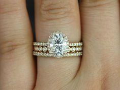 Rebecca & Petite Bubbles 14kt Yellow Gold Oval FB Moissanite and Diamond Halo TRIO Wedding Set