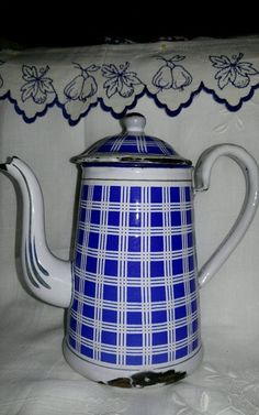Vintage Enamelware Blue and White Checked Coffee Pot