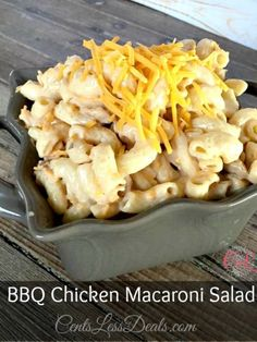 BBQ Chicken Macaroni Salad recipe - I made this for the hubs thinking I wouldn't care much for it but it was amazing! It was one of the best macaroni salads I have ever tried! This is going to be what I bring to every potluck from now on! Chicken Macaroni Salad, Best Macaroni Salad, Macaroni Salads, Side Dishes Easy, Side Dish Recipes, Dinner Recipes, Homemade Macaroni Cheese, Macaroni And Cheese, Baked Macaroni