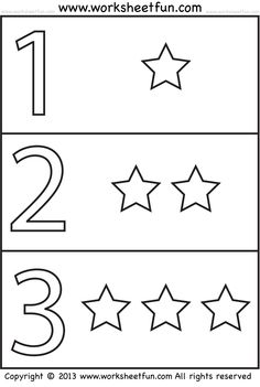 Numbers and Shapes – 4 Worksheets / FREE Printable Worksheets – Worksheetfun Preschool Number Worksheets, Fun Worksheets For Kids, Free Kindergarten Worksheets, Kids Math Worksheets, Numbers Preschool, Kindergarten Lessons, Free Printable Worksheets, Preschool Printables, Math For Kids