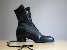 Antique Victorian Black Lace Up Boots. $150.00, via Etsy.