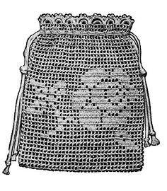 crochet wedding purse patterns | Crochet Wedding purse bag Tea Rose filet crochet design Vintage 1915 ...