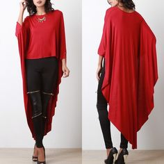 "X ""Another Moon"" Poncho Maxi High Low Top High low maxi poncho top. Has sleeves. Available in black, red, mustard and ivory. This listing is for the RED. Brand new. True to size. Bare Anthology Tops"
